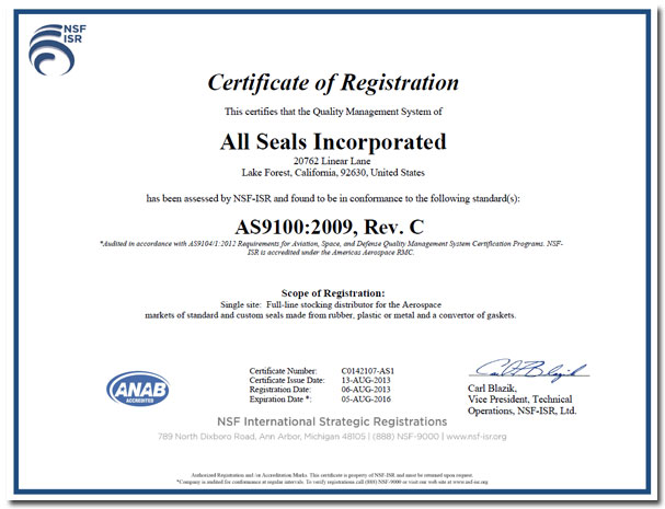 AS9100 Gaskets and ISO9001 Gaskets